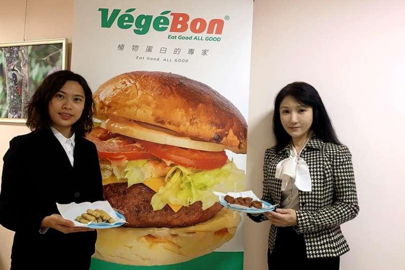 優質蛋白植物肉產品方興未艾,業者執行長李如易(右)表示,目前推出多種調料包及大眾化口味,搶攻植物肉市場。(圖/沅好生技提供)