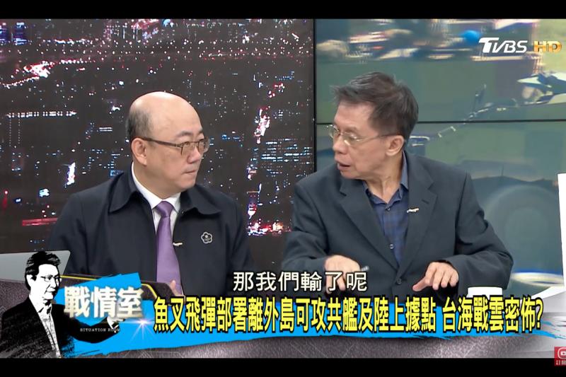 前立委沈富雄(圖右)27日提到,萬一共軍登陸,他主張投降,不要打市街戰。(取自Youtube影片「少康戰情室」節目畫面)