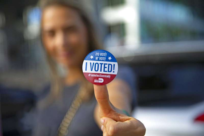 一位美國民眾對鏡頭展示「我已投票」的貼紙。今年提前投票或採郵寄選票者,可能會超過全體選票的一半。(美聯社)