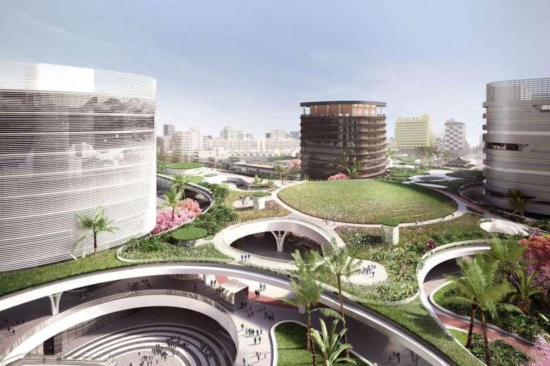 由荷蘭建築團隊Mecanoo操刀的高雄新車站空間,結合鐵路、客運公車轉運站與捷運等運輸系統,成為港都交通樞紐。(圖/Mecanoo官網)