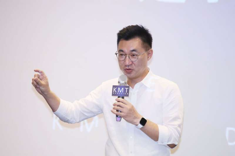 國民黨主席江啟臣指中天換照申請被否決,蔡總統應出面回應各界的質疑。(柯承惠攝)