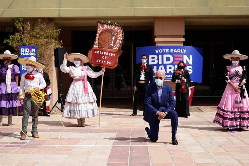 10月9日,美國民主黨總統候選人拜登參加拉斯維加斯的造勢活動,努力向拉美裔選民拉票(美聯社)