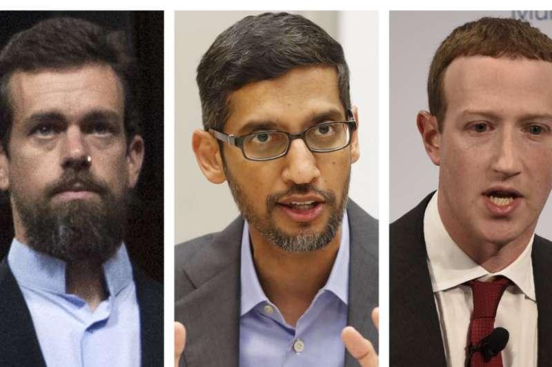 矽谷互聯網巨頭左起:推特首席執行官多爾西,谷歌首席執行官皮猜,臉書首席執行官祖克柏。(美國之音)