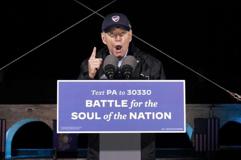 2020年11月1日,美國總統大選,民主黨候選人拜登在賓州費城造勢(AP)