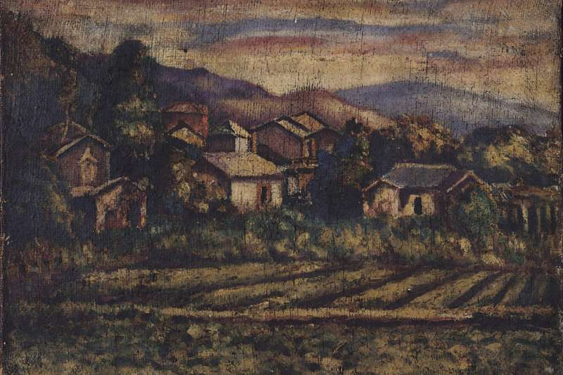 圖為畫家李梅樹作品〈寧靜的村落〉。(取自Wikimedia Commons)
