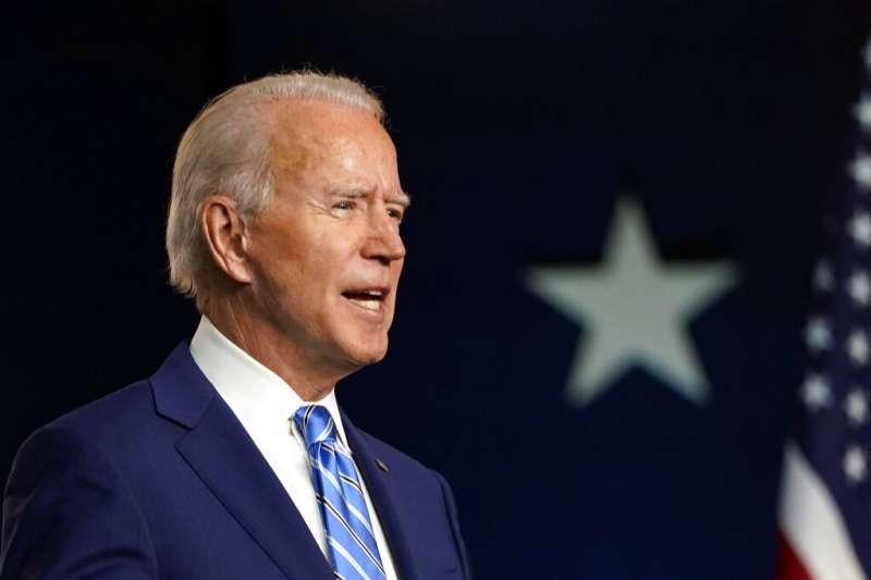美國民主黨總統候選人拜登4日在德拉瓦州發表聲明。(美聯社)