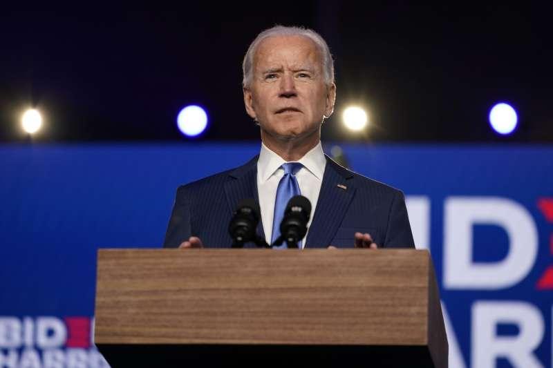 2020美國大選,民主黨候選人拜登6日幾乎確定超越270張選舉人票門檻。(AP)