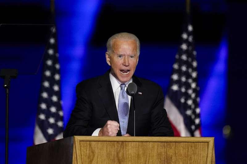 美國總統當選人拜登(Joe Biden)發表勝選演說。(AP)