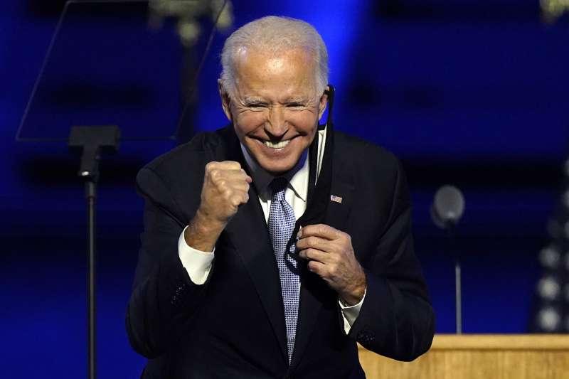 2020年11月7日,美國民主黨候選人、前副總統拜登出席勝選活動(AP)