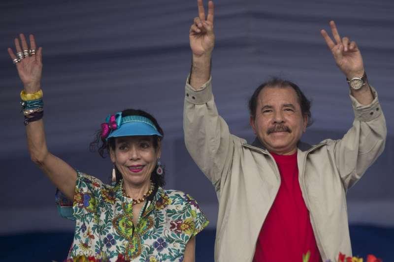 尼加拉瓜總統奧德嘉與第一夫人兼副總統穆麗優(美聯社)