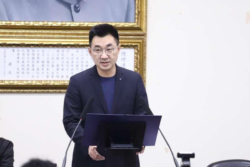 20201111-國民黨中常會,主席江啟臣於開頭發表演說。(陳品佑攝)