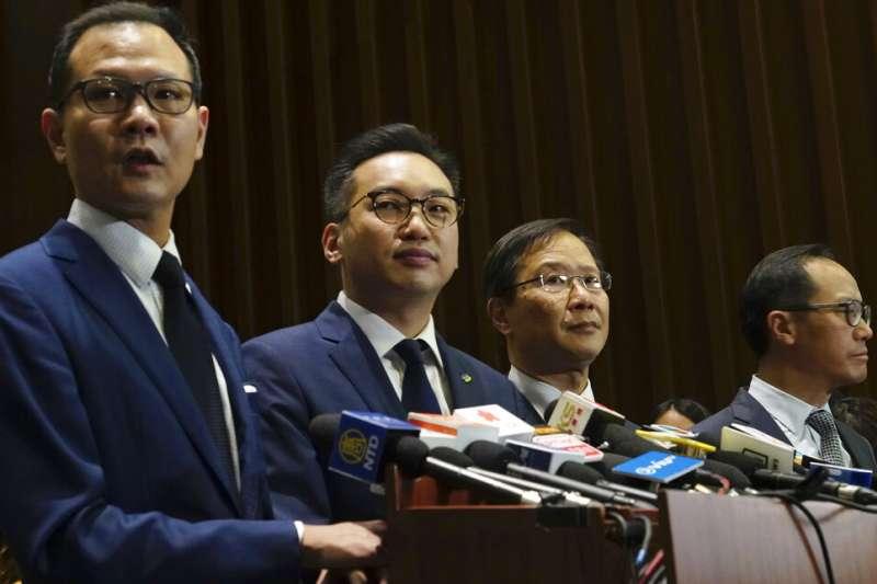 被香港政府剝奪議員資格的民主派立法會議員:郭榮鏗、楊岳橋、郭家麒、梁繼昌。(由左至右,美聯社)