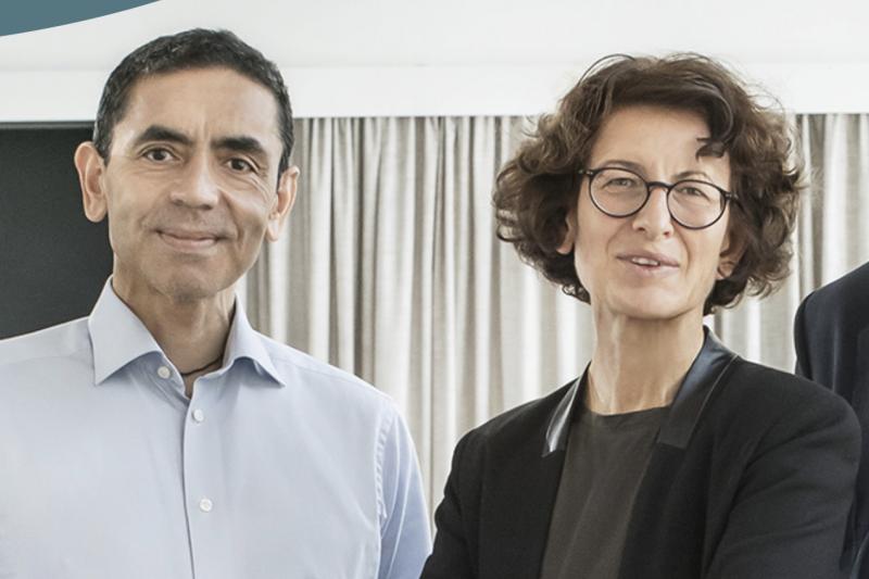 疫苗幕後研發功臣為BioNTech創辦人——德國土耳其移民夫妻檔沙辛與圖勒奇。(截自BioNTech官網)