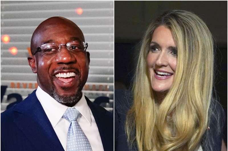 2020年美國喬治亞州聯邦參議員選舉,民主黨沃諾克(Rafael Warnock,左)對決共和黨羅夫勒(Kelly Loeffler),2021年1月5日第二輪決選定勝負(AP)