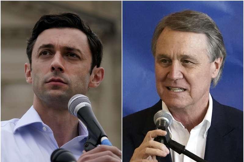 2020年美國喬治亞州聯邦參議員選舉,民主黨歐索夫(Jon Ossoff,左)對決共和黨蒲度(David Perdue),2021年1月5日第二輪決選定勝負(AP)