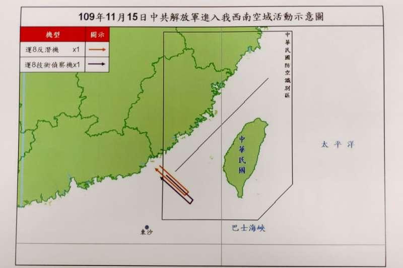 20201115-15日共機航跡示意圖。(為空軍司令部提供)