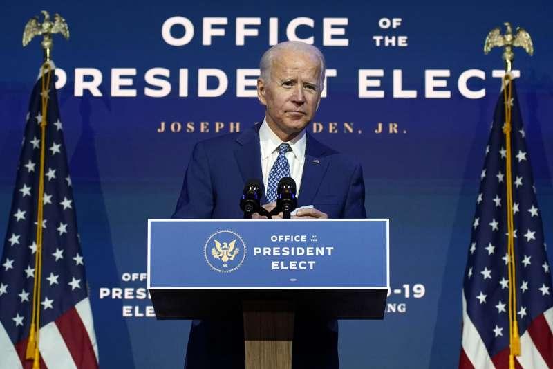 2020年11月9日美國總統當選人拜登(Joe Biden)發表談話(AP)