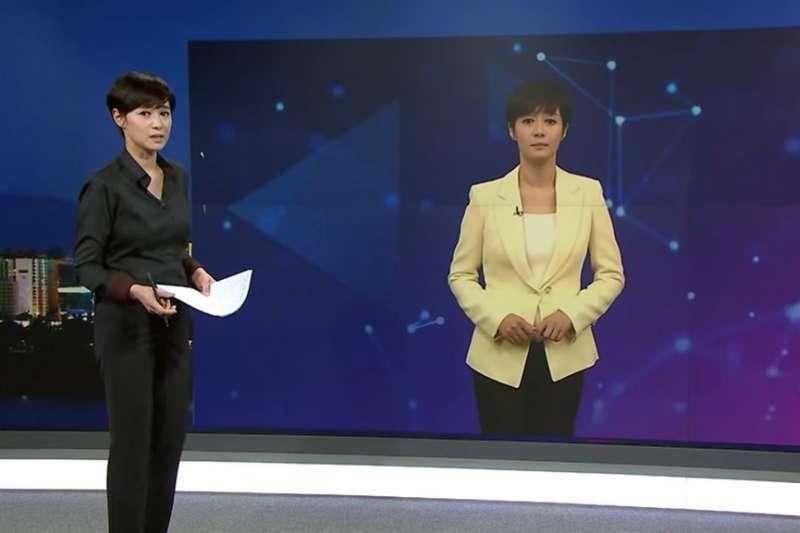 南韓電視台MBN推出全國首名AI主播,以MBN當家主播金柱夏(左)為原型的「AI金柱夏」。(圖取自MBN News YouTube頻道網頁youtube.com)