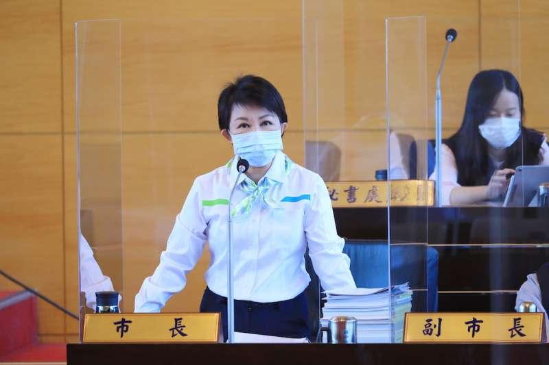 台中市長盧秀燕在市政總質詢時表示,關於校園豬肉來源會嚴格把關。(圖/台中市政府提供)