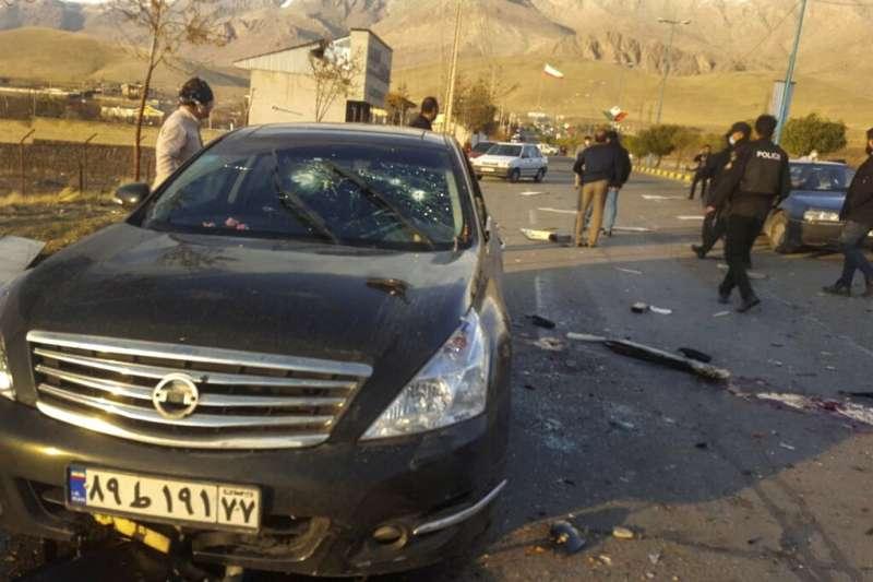 2020年11月27日,伊朗核計畫的首席科學家法克里薩德(Mohsen Fakhrizadeh )在德黑蘭以東的小城阿布扎爾遭到暗殺。(美聯社)