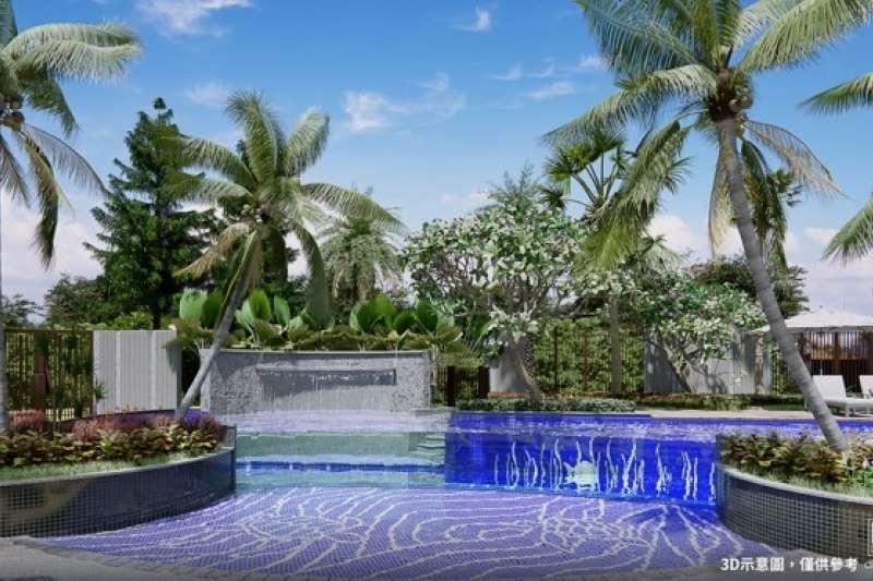 「惠國沐微風」擁透明泳池,展現新型態都會休閒住宅意象。此為公設3D示意圖。(圖/富比士地產王提供)