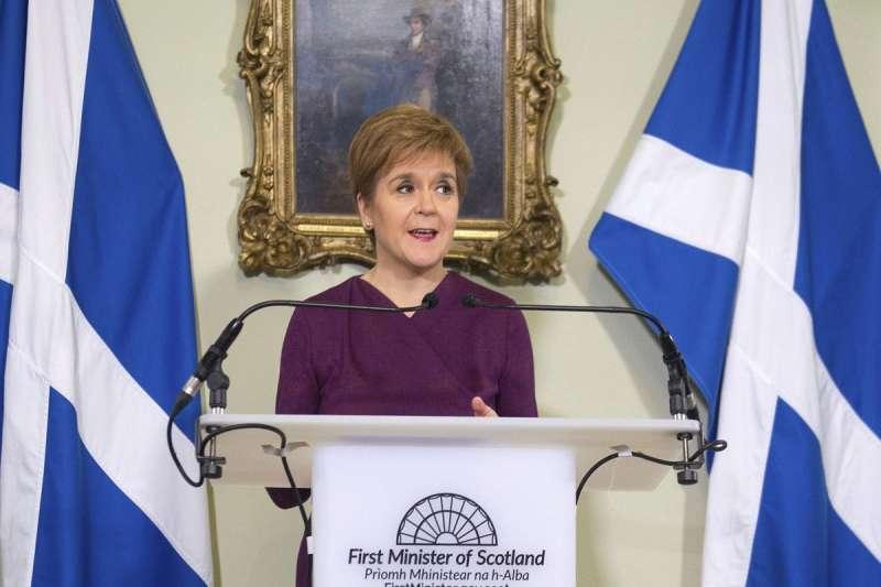 11月30日,蘇格蘭首席部長史特金表示,她將尋求明年舉辦蘇格蘭獨立公投(美聯社)