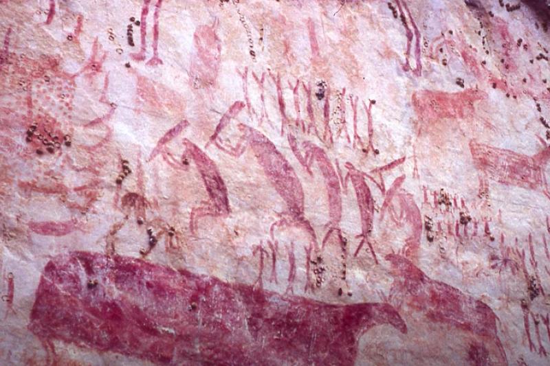 南美洲哥倫比亞發現的巨型史前壁畫,綿延超過12公里,約為史前1.2萬年前的人類所留下。(截自Youtube)