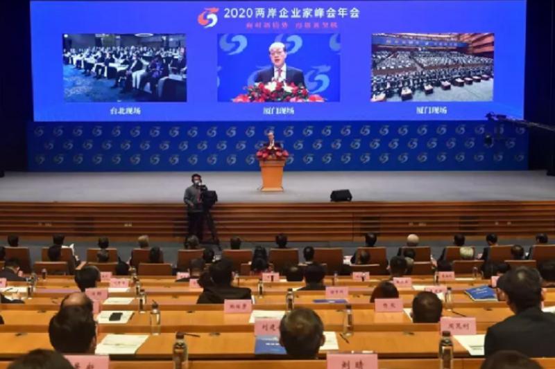 2020兩岸企業家峰會以視訊方式進行。(中新社)