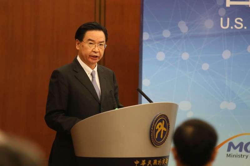 20201218-外交部18日舉行「台美科學及技術合作協定」宣布記者會,外交部長吳釗燮出席致詞。(柯承惠攝)