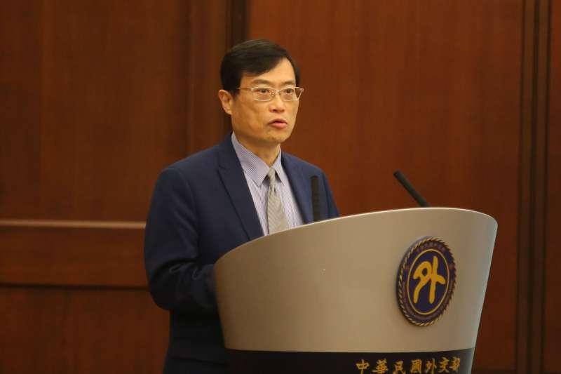 20201218-外交部18日舉行「台美科學及技術合作協定」宣布記者會,經濟部政務次長陳正祺出席致詞。(柯承惠攝)