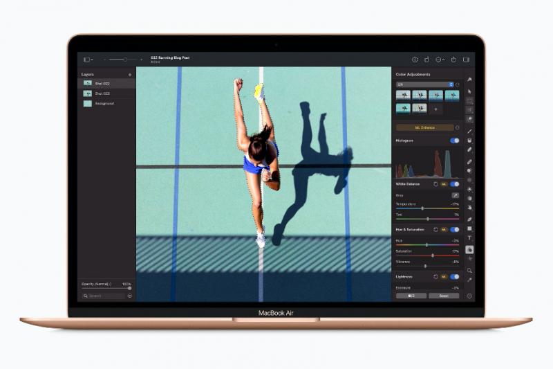 Macbook Air新機種搭載蘋果自家研製的M1處理器,以及台積電5奈米製程量產的M1處理器。(截自Apple官網)