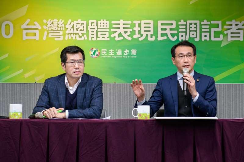 民進黨21日召開「2020台灣總體表現民調記者會」,所有項目都表現亮眼。(民進黨提供)