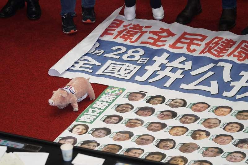 20201224-立法院24日表決萊豬進口相關法條修正草案及附帶決議,表決結束後國民黨立委表達下一步要拚公投,並擺出一隻小豬玩偶。(盧逸峰攝)