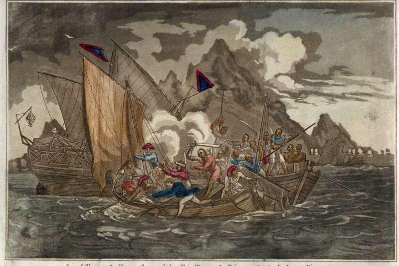 19世紀中國海域橫行許多海盜,圖為船長透納與他的「泰伊號」(Tay)遇襲經過。(維基百科公有領域)