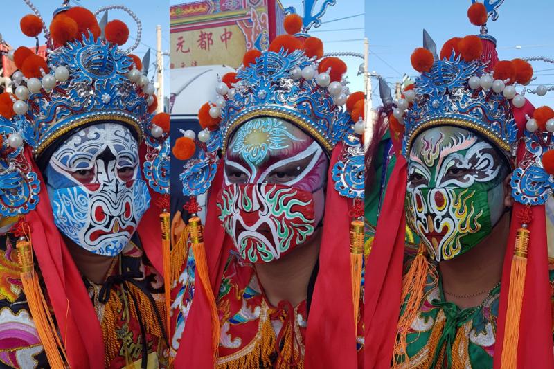 有宮廟特別為五營神將陣頭成員繪製彩繪臉譜口罩(圖/取自臺中中都元帥殿法元壇 粉專)