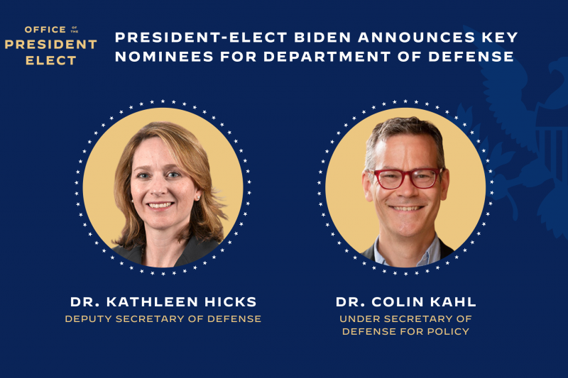 拜登新政府:希克斯(左)有望成為美國史上首位女性國防部副部長(翻攝拜登團隊官網)