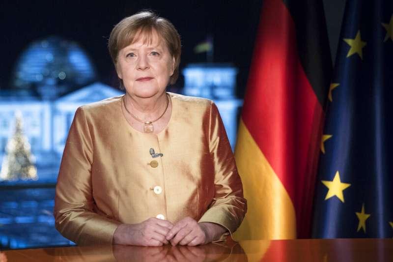 德國總理梅克爾發表2021年新年談話。(美聯社)