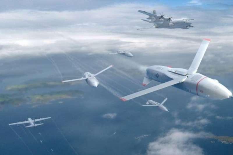 歐洲的 「未來戰鬥空中系統」(FCAS)項目包括無人機蜂群和動能武器戰術。(BBC中文網,美國DARPA無人機蜂群構想圖)