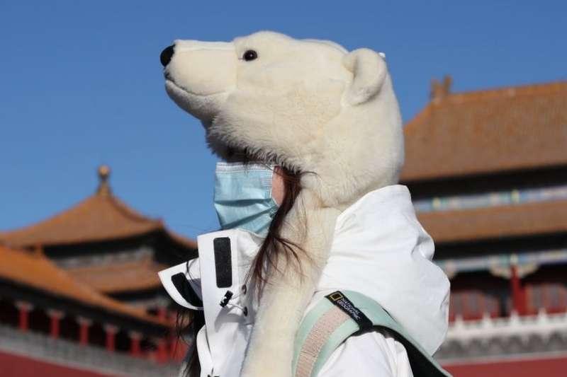 1月6日,一名遊客戴著一頂白熊狀保暖帽參觀北京故宮。(BBC中文網/Getty Images)