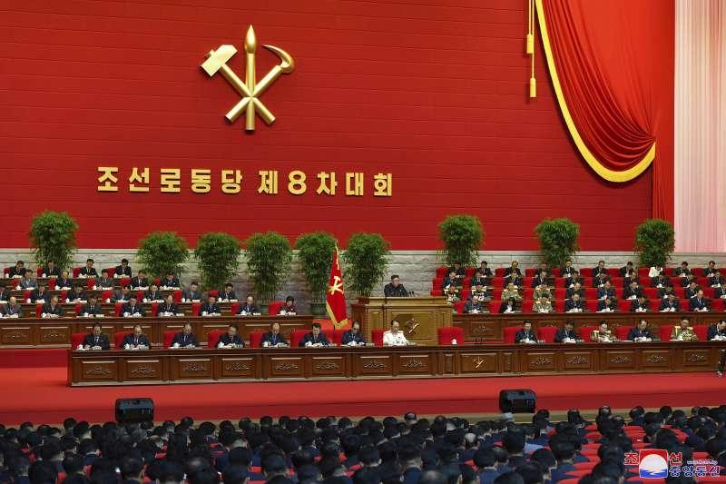 2021年1月,北韓(朝鮮)國務委員會委員長金正恩主持勞動黨第八次代表大會(AP)