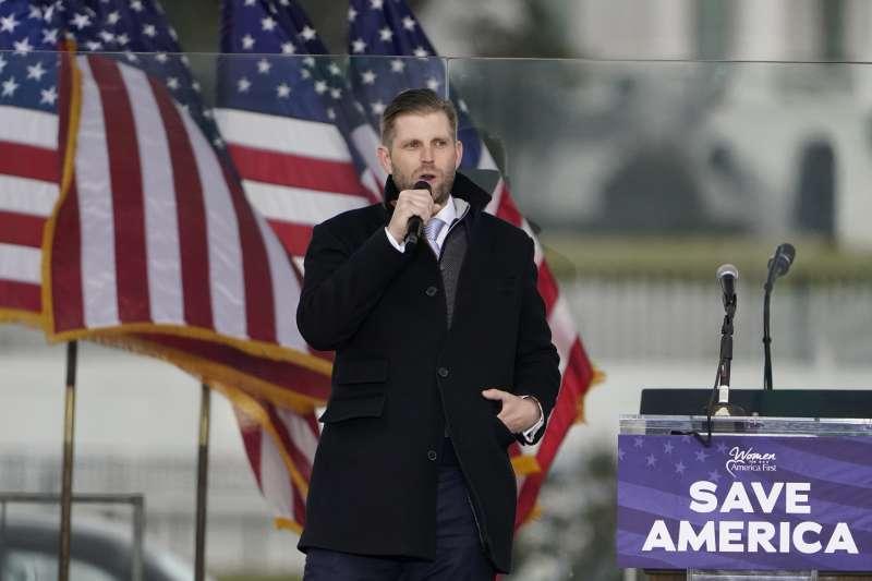 2021年1月6日,川普在華府舉辦「搶救美國大會」,次子艾瑞克(Eric Trump)上台發言(AP)