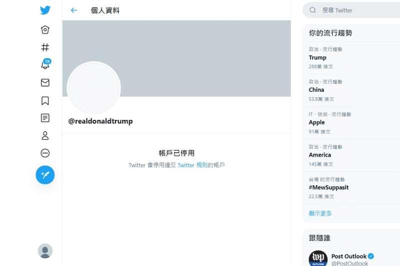 2021年1月8日,川普總統的推特帳號遭永久封鎖(Twitter)