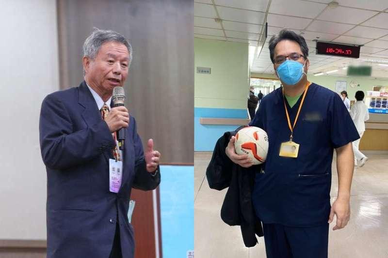 台大醫師施景中質疑,在節目稱醫師未遵SOP才染疫的「大老」(左)真的懂SOP?他也提到自己的好兄弟(右)對抗武漢肺炎的事蹟。(資料照,取自施景中臉書、顏麟宇攝/合成:風傳媒)