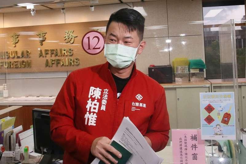 資深媒體人黃暐瀚認為,台灣基進黨立委陳柏惟(見圖)的處境比高雄市議員黃捷還要危險。(資料照,柯承惠攝)