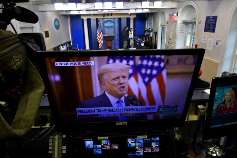 美國總統川普在2021年1月19日發表預錄的告別演說。(美聯社)
