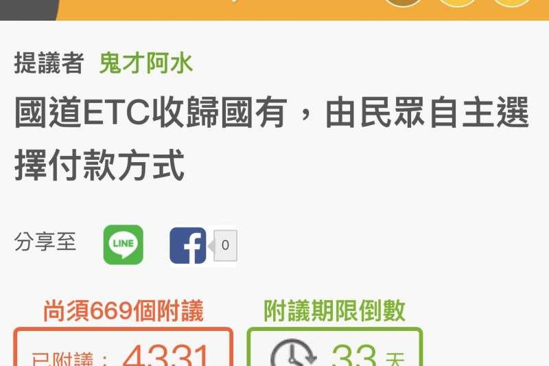 網友連署「ETC收歸國有」即將達標。(圖/鬼才阿水提供)