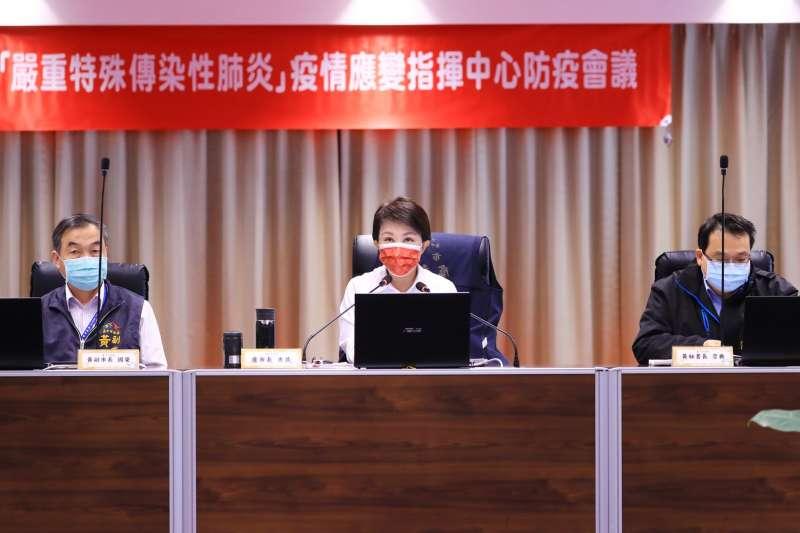台中市長盧秀燕20下午召開防疫會議,提醒,春節仍有群聚風險,防疫必須提前部署  。(圖/台中市政府)