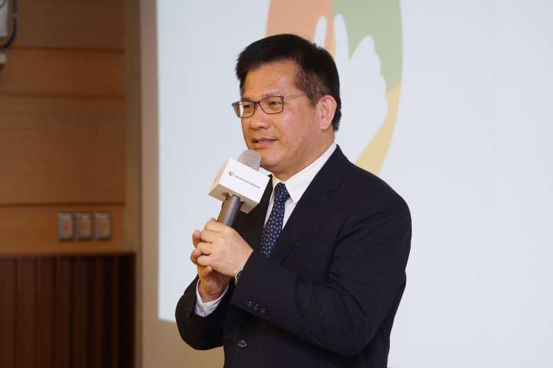 20210120-交通部長林佳龍20日出席反酒駕記者會。(盧逸峰攝)