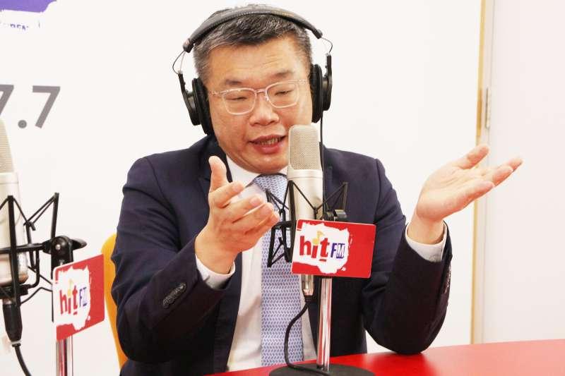 立法院副院長蔡其昌27日接受電台專訪時。(Hit Fm《周玉蔻嗆新聞》製作單位提供)