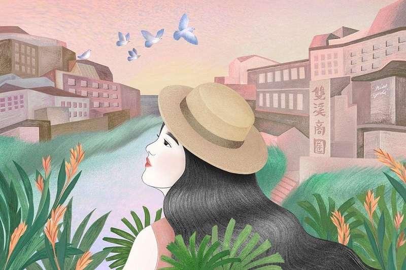 雙溪商圈風格插畫(圖片來源:欣蒂小姐)
